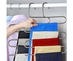 5 Layer Cintre S Type Multifonctionnel Cintre Porte Pantalons en Acier Inoxydable Economiser l'espace pour Pantalons Jeans Echarpe Cravate Trousers Rack (2 pcs)