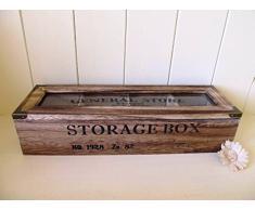 Boîte de rangement/boîte à bijoux en bois style rustique Chic avec 4 compartiments. Couvercle en verre cadeau.