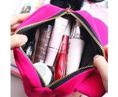 Hosaire Trousse de Maquillage mignonne motif Cat Sac à Maquillage en Flanelle Organisateur des Cosmétiques de Voyage Zipper Sac pochette Grande capacité-Rose Rouge
