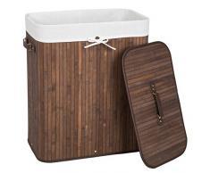 TecTake Panier à linge robuste corbeille en bambou bac à linge pliable 100L marron 53x33,5x63cm + sac à linge amovible