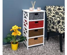 Petite table commode table d'appoint 77 cm avec 4 paniers étagère