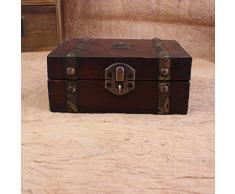 Rétro Boîte En Bois Européenne , HYMax Bijoux Bijou Décoratif Boîte De Rangement à La Main Vintage Coffret En Bois De Trésor