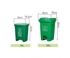 SxsZQ Poubelle à pédale, poubelle de classification des couleurs multiples, poubelle antidérapante, robuste et robuste poubelle de rue extérieure solide (Color : Red, Size : 60L)