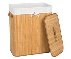 TecTake Panier à linge robuste corbeille en bambou bac à linge pliable 100L naturel 53x33,5x63cm + sac à linge amovible