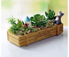 niceEshop(TM) Boîte de Rangement en Bois, Pot de Fleurs et de Plantes en Bois avec Style de Vintage (Couleur de Bois en Grume)