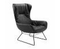 Freifrau Fauteuil à oreilles Leya structure en fil - noir/PxHxP 70x104x85cm/patins en feutre/siège-dos cuir Orient Ebony 20001/structure mat noir revêtu par poudre
