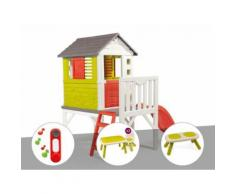 Cabane enfant Pilotis - Smoby + Sonnette + Table et 2 chaises + Banc - Maisons de jardin