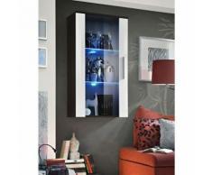 Paris Prix - Vitrine Led Murale Design neo 110cm Wengé & Blanc Brillant - Vaisseliers