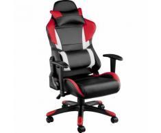 TECTAKE Chaise de bureau, Fauteuil de bureau RACING SPORT Rembourrage Épais - Hauteur Réglable - Inclinable Pivotante Rouge Noir - Sièges et fauteuils de bureau
