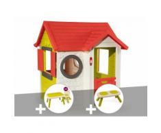 Cabane enfant My House - Smoby + Table et 2 chaises + Tabouret + Banc - Maisons de jardin