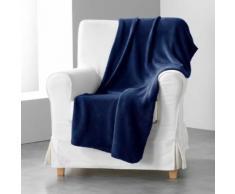 Jete de canape 180 x 220 cm coral uni louna Bleu nuit - Textile séjour