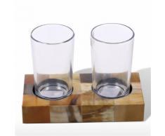Tooarts Porte-verre double porte-brosse à dents avec cornes Stripes Verre et dessous de verre Set porte-verre de salle de bain avec verre décoratif - Objet à poser