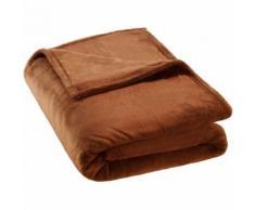 TECTAKE Plaid Canapé en Polaire 220 cm x 240 cm Marron + Sac de Rangement - Textile séjour