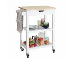 SoBuy® FKW66-WN Chariot de Service Desserte à roulettes Table Roulante Cuisine avec 2 Étagères et 1 Tiroir - Mobilier de Jardin