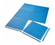 TECTAKE Tapis de Sol de Gym Sport avec 6 Dalles de Protection en Mousse 61 cm x 61 cm Bleu - Gymnastique