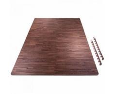 6 tapis de protection en mousse - épaisseur 1,2cm - 12 pièces d'about - Bois foncé - Yoga et pilâtes