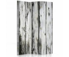 Feeby Paravent imprimé toile Décoration intérieur, 3 parties 2 faces, Vieilles planches imitation 110x180 cm - Objet à poser