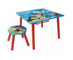 FUN HOUSE PAT'PATROUILLE Table carrée avec Rangement/Tabouret pour Enfant, MDF, 65 x 65 x 10 cm - Décoration de chambre