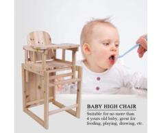 Bébé Chaise haute table amovible en bois massif avec plateau réglable - Chaises hautes et réhausseurs