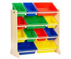 KidKraft 16774 Etagère de rangement, chambre enfant, meuble incluant 12 casiers en plastique interchangeables - couleurs primaires et coloris naturel - Décoration de chambre