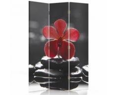 Feeby Paravent à inversion de sens Décoration intérieur 3 pans, Zen Fleur Orchidée 110x180 cm - Objet à poser