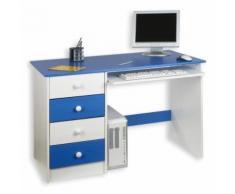 Bureau enfant 4 tiroirs lasuré blanc bleu - Bureaux