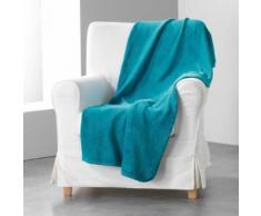 Jete de canape 180 x 220 cm coral uni louna Bleu lagon - Textile séjour