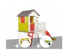 Cabane enfant Pilotis - Smoby + Banc + Brouette - Maisons de jardin