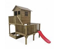 Maisonnette sur pilotis avec toboggan et bac à sable en bois FSC de 4 m², Bleuet - Maisons de jardin