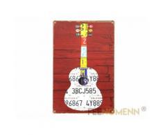 plaque métal déco vintage - guitare immatriculation américaine (20x30cm) - Décoration murale