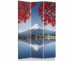 Feeby Paravent imprimé Séparateur de pièce 2 faces 3 panneaux, Vue Mont Fuji 110x150 cm - Objet à poser