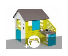 Cabane enfant Pretty + Cuisine d'été - Smoby + Banc - Maisons de jardin