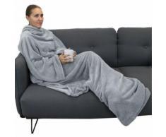 Couverture polaire plaid intégral avec manches et poche - Enfant ou adulte jusqu'à 1.65m - Gris - Linge de lit