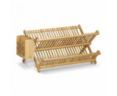 Égouttoir à vaisselle et couverts pliable avec panier à couverts bois de bambou 46 cm - Accessoires de rangement