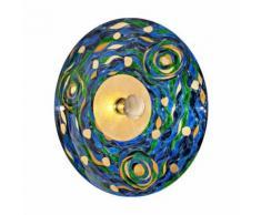 Applique murale design LUNA chrome 1 ampoule Diamètre 89 Cm Bleu Aqua - Appliques et spots