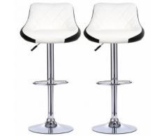 Tabourets de bar Lot de 6- Chaise en Simili-Cuir réglable en hauteur- Blanc/Noir - Tabourets