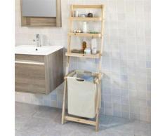 Étagère murale style échelle pour salle de bain avec 1 Panier à linge amovible et 3 niveaux de rangement FRG160-N SoBuy® - Etagères murales et tablettes