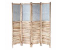 Paravent HWC-D27, cloison de séparation en bois et métal, 170x160x2 cm - Objet à poser