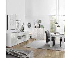 Séjour design blanc laqué enfilade + table 180 NINO - Ensemble de meubles
