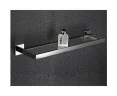 Etagère en verre et inox pour gadgets de salle de bain de style contemporain ( 60 cm ) - Accessoires salles de bain et WC