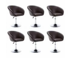vidaXL Chaise pivotante 6 pcs Similicuir 67,5x58,5x87cm Marron - Chaise