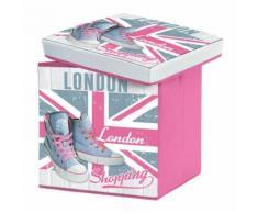 coffre de rangement pliable 38 x 38 x 38 cm polyester imprime girly london - Mobilier de Jardin