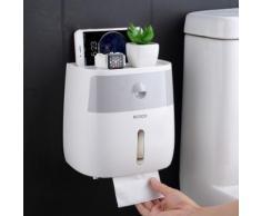 Salle de bains Boîte à mouchoirs imperméable Baignoire en plastique Porte-papier Toilette Boîte de rangement du papier fixée au mur Distributeur de serviette à double couche - Accessoires salles de bain et WC