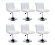 vidaXL Chaise pivotante à dîner 6 pcs Similicuir 50 x 43 x 85 cm Blanc - Chaise