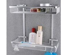 Porte-gadgets de douche et salle de bain de style contemporain en aluminium anodisé - Accessoires salles de bain et WC