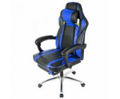 Chaise de Bureau Racing, siéger Ergonomique, avec oreiller et repose-pieds - Bleu et Noir - Sièges et fauteuils de bureau