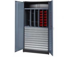 Kupper - Armoire 2 portes 1 étagère 9 tiroirs et 36 boites de rangement - Gris - Rangement de l'atelier