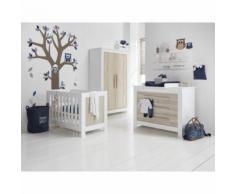 Chambre complète lit bébé 60x120 - commode à langer - armoire 2 portes Parma - Bois - Chambres enfant complètes