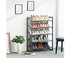 Porte-chaussures , étagère de rangement pour chaussures empilable sur 5 niveaux, treillis métallique - Meubles à chaussures