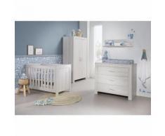 Chambre complète lit bébé 60x120 - commode à langer - armoire 2 portes Oslo - Gris clair - Chambres enfant complètes